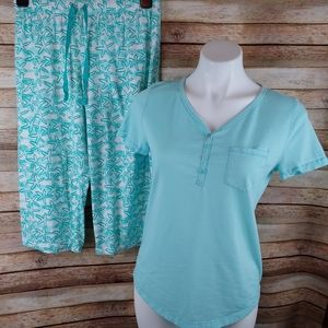 Relativity teal green starfish capri pajamas M
